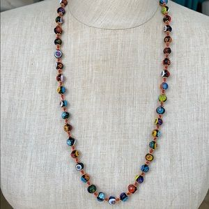 Murano glass millefiori necklace from Italy.